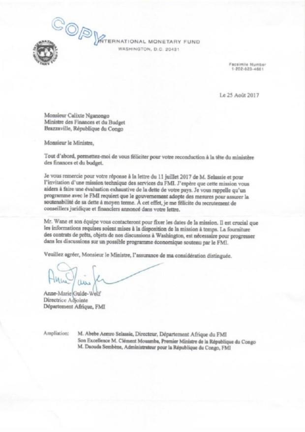 Congo Lettre FMI