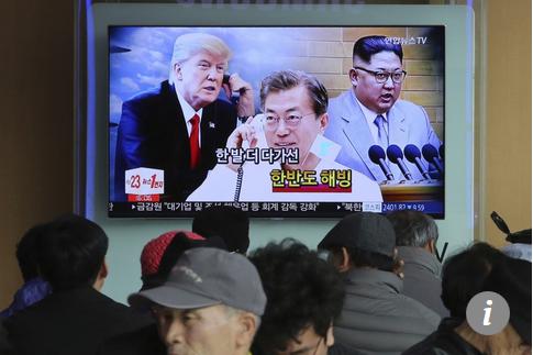 Capture Kim Jong-un (à droite), Moon Jae-in et Donald Trump sur écran